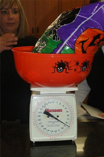 Bag of candy on a scale