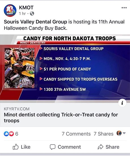 News item about candy for troops event