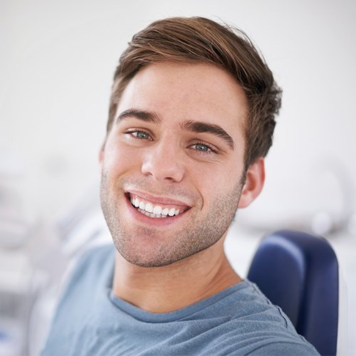 Man sharing smile after fluoride treatment
